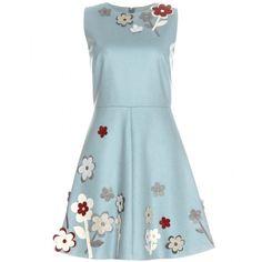 REDValentino Appliqué-Embellished Dress ($675) ❤ liked on Polyvore featuring dresses, vestidos, turquoise, floral pattern dress, turquoise floral dress, flower print dress, embellished dresses and turquoise dress
