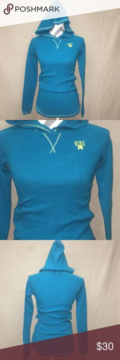 Nike Thermal Hoodie Teal and yellow thermal hoodie. Excellent Condition Feel Free To Ask Me Any Additional Questions! Reasonable Offers Are Considered. No Trades, Or Modeling. Happy Poshing! Nike Sweaters