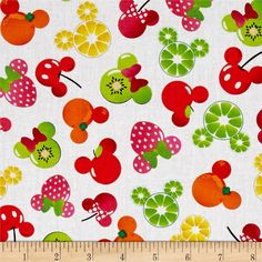 Disney Mickey and Friends Mickey Minnie Fruits White from @fabricdotcom  Licensed by Disney to Springs Creative Products, this cotton print is perfect for quilting, apparel and home décor accents. Colors include white, yellow, green, orange and pink. This is a licensed fabric and not for commercial use.