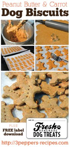 "Homemade treats for our favorite ""people""! Peanut Butter and Carrot Dog Biscuits with FREE printable labels"