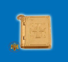 Small Amulet Metal Gospel with Cross @ www.nioras.com Byzantine Art, Orthodox Christianity, Religious Icons, Pendant Design, Art Store, Book Covers, Greek, Traditional, Children