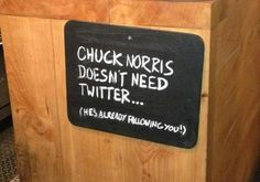 Chuck Norris jokes will live on forever ! Social Media Humor, Social Media Marketing, Chuck Norris Memes, Funny Signs, The Funny, Funny Quotes, Lyric Quotes, Funny Humor, Movie Quotes