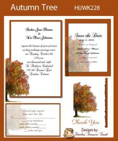 Fall colors wedding invitation do it yourself printable templates autumn tree wedding invitation kit print it yourself solutioingenieria Image collections