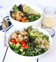 """thrivingonplants: """"Ahh these kinda meals are the best  Brown rice, sesame cauliflower (popped it in the airfryer), avocado, cucumber, tomato, kale, coriander & hemp seeds  Full recipe in my new..."""