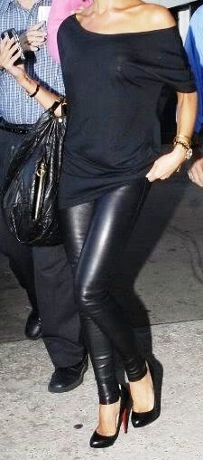 The leather leggings and loose fitting Black top