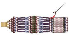 Scalloped Brick Stitch Bracelet Beaded Earrings Patterns, Beading Patterns Free, Bead Patterns, Bead Earrings, Bracelet Patterns, Seed Bead Bracelets Tutorials, Beading Tutorials, Beaded Braclets, Amigurumi