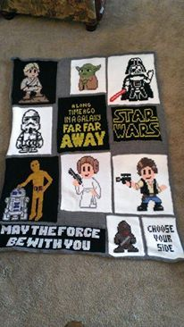 large star wars blanket. panels are tunisian crochet. the pictures were then cross stitched on using cross stitch patterns, crochet patterns, perler bead patterns, or my own patterns. took around 100 hours. also fleece lined. very heavy and cozy