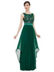 Elegant Emerald Green Chiffon Bridesmaid Dresses With Lace Bodice