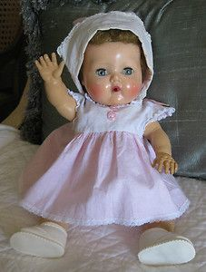 """VINTAGE TINY TEARS DOLL 13"""" I had this one too. Her face identical but had darker hair."""