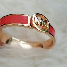 MK Bangle New, Gold Tone Bangle with MK Design, Pink Accent, offers welcome Michael Kors Jewelry Bracelets