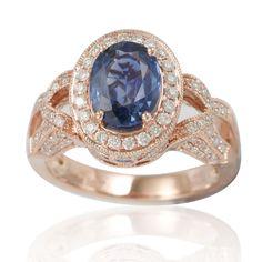 Suzy Levian 14K Two-Tone Rose Gold White Diamonds Ceylon Sapphire Ring