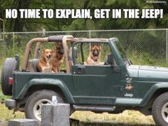 No time to explain, get in the jeep!