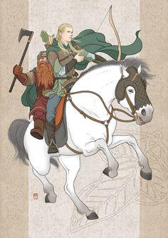 hunters-Legolas,Gimli by ilxwing on deviantART ~ LOTR Legolas Et Gimli, Fili And Kili, Thranduil, Gandalf, Bilbo Baggins, Thorin Oakenshield, Jrr Tolkien, Fellowship Of The Ring, Lord Of The Rings