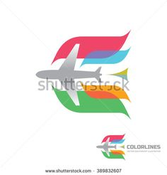 Color airlines - vector logo concept. Aircraft illustration. Airplane logo. Tickets company logo. air traveling logo sign. Airplane silhouette for transportation and travel company. Design element.