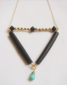 handmade polymer clay bead triangle statement necklace