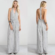 """""""A Little Taste"""" Printed Backless Jumpsuit Printed, backless chiffon jumpsuit. Halter tie neck. Brand new without tags. True to size. NO TRADES. Bare Anthology Dresses"""