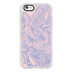 iPhone 6 Plus/6/5/5s/5c Case - Pink rose quartz blue floral mandala... ($40) ❤ liked on Polyvore featuring accessories, tech accessories, iphone case, print iphone case, iphone cover case, floral iphone case and apple iphone cases