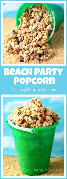 Fill up your beach pail with crunchy peanut butter popcorn that's coated in sandy looking cookie crumbs and speckled with homemade chocolate sea shells. This Beach Party Popcorn will make a festive treat for your pool party or beach themed events. - From hungryhappenings.com