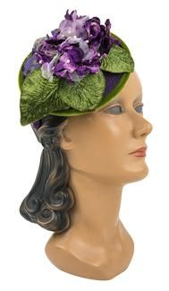 Louise Green Whimsy Floral Fascinator  5130 whimsy floral fascinator olive-purple