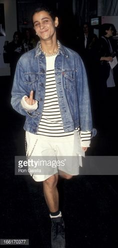Jaye Davidson attends Fall Fashion Week Tanya Sarne Fashion Show on April 8, 1994 at Bryant Park in New York City.