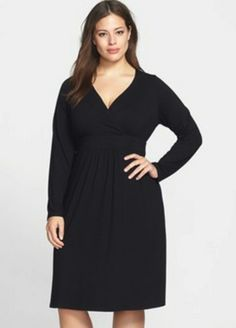 Eileen Fisher Plus Size Black A-Line Dress with Empire Waist