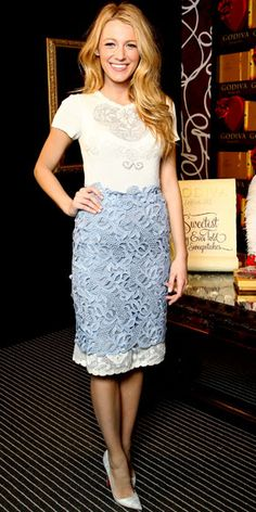Blake Lively layered a Valentino skirt over a Valentino LWD to an event for Godiva in NYC. She finished the look with Christian Louboutin pumps.