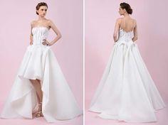 vestido de noiva com saia volumosa e curta a frente de gemy maalouf 2016