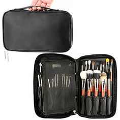 2a08e9ec518 Travelmall Professional Cosmetic Case Makeup Brush Organizer Makeup Artist  Case with Belt Strap Holder Multi functional Cosmetic Bag Makeup Handbag  for ...