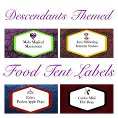 $6 Disney Descendants Themed Food Tent Labels Mal by BijouxetSoirees
