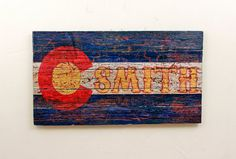 Made to order 36x20 Reclaimed Wood Colorado State Flag Rustic Sign with your name or word of chioce