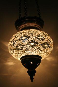 LARGE TURKISH MOROCCAN MOSAIC HANGING LAMP PENDANT LANTERN LIGHT LAMP SHADE