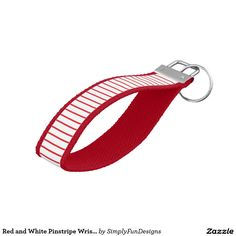 Red and White Pinstripe Wrist Keychain #keychain #pinstripes #red #white