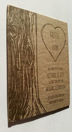 Save-the-date in brown on chipboard for a rustic, outdoor wedding. Design by Flood Tide Press.  Occasions & Announcements - Flood Tide Press Letterpress Design and Printing    wood carve - hand lettered typeface - heart - romantic - kraft - nature - invitation