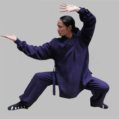 1ea888ea1 Navy Blue Silk and Linen Wudang Tai Chi Uniform with Cuffs for Men and  Women. Kung Fu ...