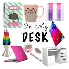 """""""On my desk"""" by dapotatonationdast ❤ liked on Polyvore featuring interior, interiors, interior design, home, home decor, interior decorating, Speck, Pusheen, Universal Lighting and Decor and onmydesk"""