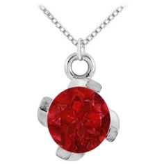 Pre-owned July Birthstone Created Ruby Pendant In Sterling Silver 1.00... ($125) ❤ liked on Polyvore featuring jewelry, pendants, accessories, red, red pendant, sterling silver jewelry, ruby birthstone jewelry, anniversary jewelry and sterling silver birthstone jewelry