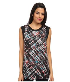 Vince Camuto Short Sleeve Ultra Plaid Blouse w/ Overlay Rich Black - 6pm.com