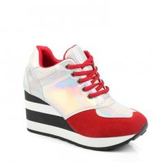 Ideal Shoes - Baskets compensées avec empiècements holographiques Sweety Rouge 40