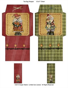 Digital Tea Wrappers Primitive Folk Art Design by CooperStation