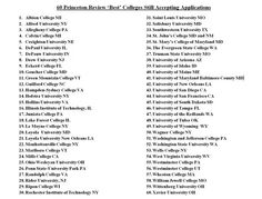 At least 60 of the Princeton Review's 'Best Colleges are still accepting applications.