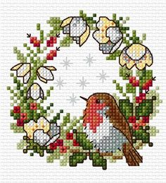 This sweet little robin is easy to stitch on either 14 count Aida or 28 count evenweave. It is suitable... Cross Stitch Love, Cross Stitch Designs, Xmas Cross Stitch, Cross Stitch Cards, Cross Stitch Pictures, Cross Stitch Animals, Counted Cross Stitch Patterns, Cross Stitch Flowers, Cross Stitch Embroidery