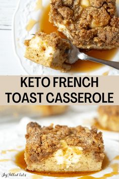 Keto French Toast Casserole is the game-changing breakfast idea you have been waiting for. This incredible french toast has a comforting bread layer, cream cheese filling, insanely good custard, and a cinnamon-sugar topping. It's completely keto, low-carb, gluten-free, and grain-free! Breakfast Casserole French Toast, French Toast Bake, Low Carb Breakfast, Best Breakfast, Breakfast Muffins, Breakfast Ideas, Breakfast Recipes, Sugar Free Maple Syrup, Keto Lunch Ideas