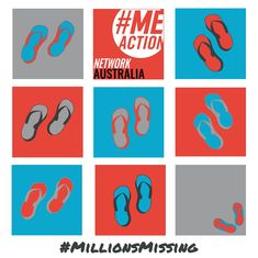 #MEAction Network AU    @MEActNetAu  19h19 hours ago More Empty thongs have been a theme for #MillionsMissing in Oz. We were thrilled to have Australian artist Shiloh Moore design this image for this year's campaign, representing both adults & children missing due to #mecfs See more of Shiloh's work on her blog: http://byshi.hogfish.net/