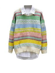 Colorful Asymmetrical Knitted Crew Neck Sweaters