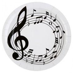 Assiette notes de musique carton blanc 22.5 cm les 10