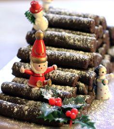La buche de nOël… ou plutôt, au sens littéral, le «tas de buches…» de nOël !! - sibO sibOn idée déco génial !! à faire cette année <3