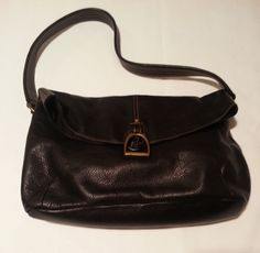 Ralph Lauren black pebbled leather-based  handbag shoulder bag with horseshoe closure