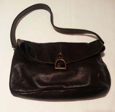 Ralph Lauren black pebbled leather-based  handbag shoulder bag with horseshoe closure