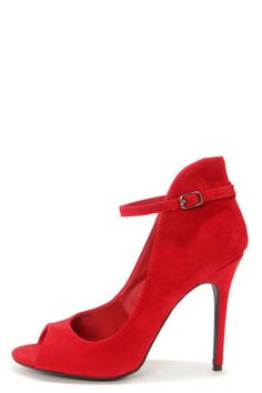 Anne Michelle Rapture 26 Red High Back Ankle Strap Heels