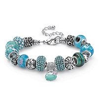 """Round Baby Blue Crystal Silvertone Bali-Style Beaded Charm and Spacer Bracelet 8"""""""